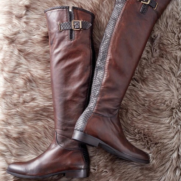 Brown Over The Knee Leather Boots